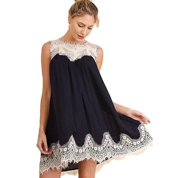 95603ee4dde6 Navy lace trim dress